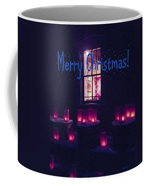 Farolitos Coffee Mug featuring the photograph Farolitos Or Luminaria Below Window 2-2 by Tamara Kulish