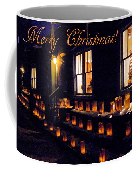 Farolitos Coffee Mug featuring the photograph Farolitos Or Luminaria Below Window 3-2 by Tamara Kulish
