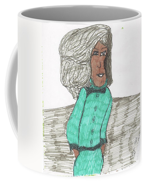 Senior Lady Modeling A Blue Ladies Suit Coffee Mug featuring the mixed media Fashion Style Four by Elinor Helen Rakowski