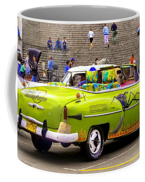 Cuban Cars Coffee Mug featuring the photograph Fast And Furious In Cuba by Karen Wiles