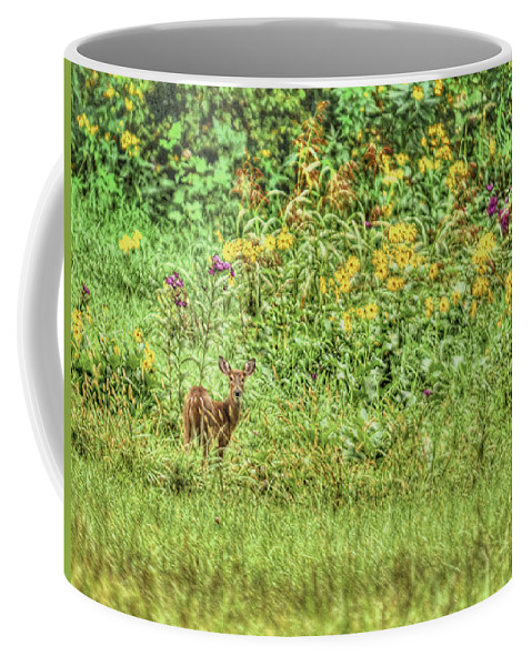 Fawn Coffee Mug featuring the photograph Fawn In Flowers by Shirley Tinkham