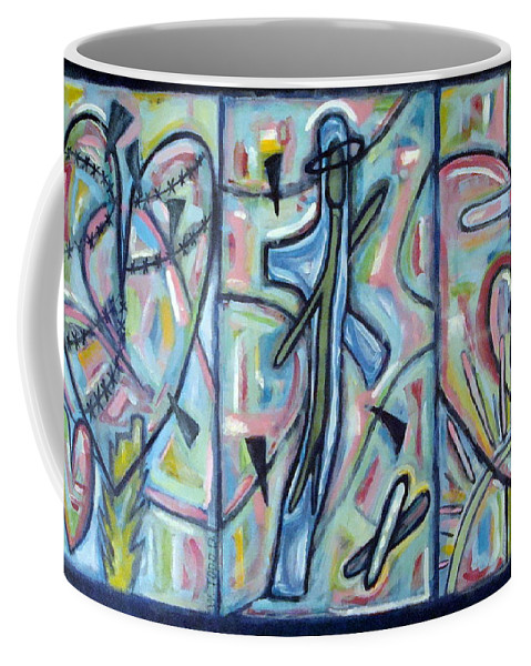 Cross Coffee Mug featuring the painting Fear Salvation And The Release Of Death by W Todd Durrance