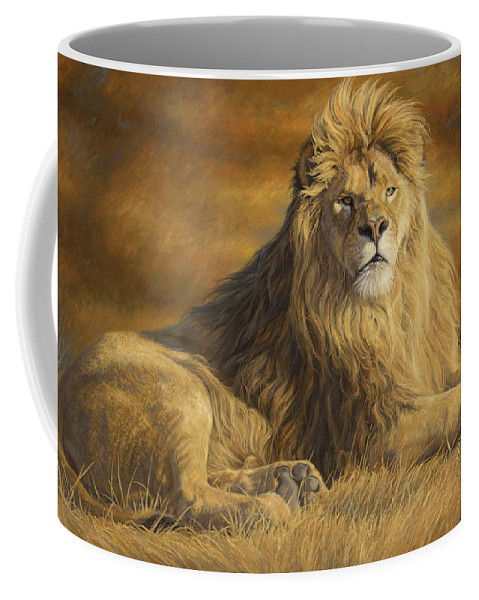 Lion Coffee Mug featuring the painting Fearless by Lucie Bilodeau