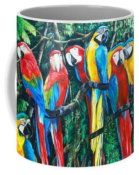 Macaw Painting Bird Paintings Feather Painting Rain Forest Painting Colorful Parrot Painting Blue And Gold Macaw Painting Bird Painting Green Wing Macaw Painting Caribbean Paintings Tropical Paintings Colorful Paintings  Canvas Prints Paintings Greeting Card Paintings Poster Prints Paintings Coffee Mug featuring the painting Featherd Bff by Karin Dawn Kelshall- Best