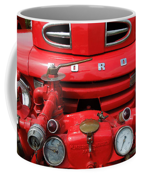 Colette Coffee Mug featuring the photograph Featured Old Ford Front On Fire Engine Denmark by Colette V Hera Guggenheim