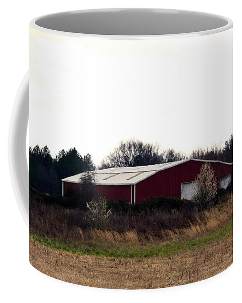 February's Red Barn Coffee Mug featuring the photograph February's Red Barn by Maria Urso
