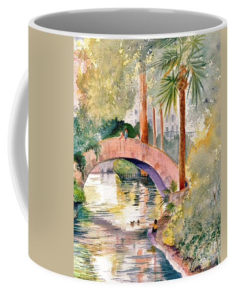 River Coffee Mug featuring the painting Feeding The Ducks by Marilyn Smith