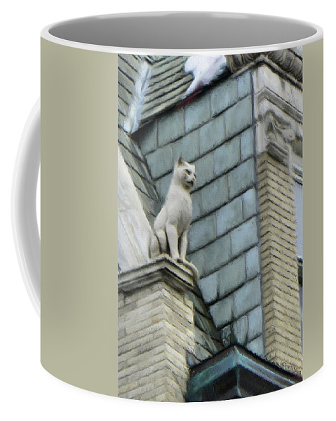 Architecture Coffee Mug featuring the painting Feline Sentry by Jeffrey Kolker