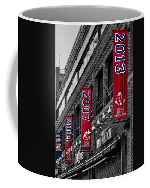 Baseball Coffee Mug featuring the photograph Fenway Boston Red Sox Champions Banners by Susan Candelario