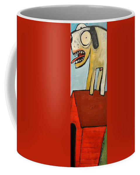 Dog Coffee Mug featuring the painting Ferocious Dog Speaks His Mind On Top Of His House by Tim Nyberg