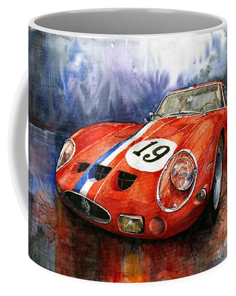 Watercolour Coffee Mug featuring the painting Ferrari 250 Gto 1963 by Yuriy Shevchuk