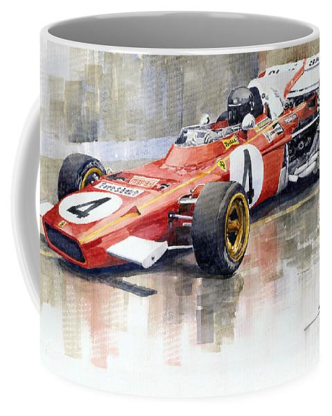 Watercolor Coffee Mug featuring the painting 1971 Ferrari 312 B2 1971 Monaco Gp F1 Jacky Ickx by Yuriy Shevchuk