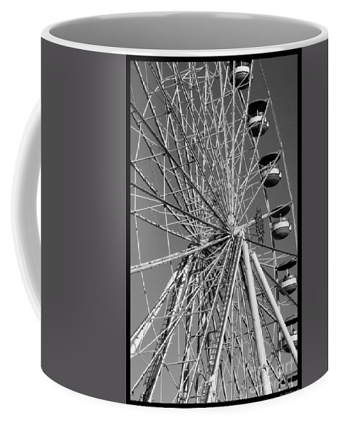 Ferris Wheel Coffee Mug featuring the photograph Ferris Wheel In Black And White by Susan Cliett