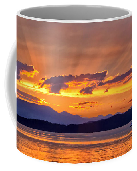 Ferry Crossing Sunset Coffee Mug featuring the photograph Ferry Crossing Sunset by Carolyn Derstine