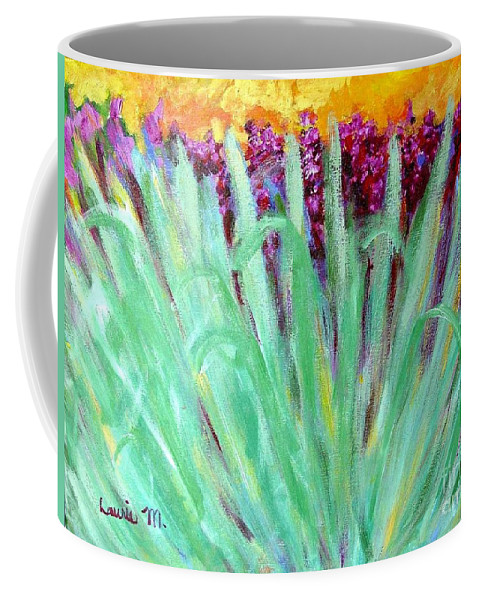 Abstract Coffee Mug featuring the painting Festoon by Laurie Morgan