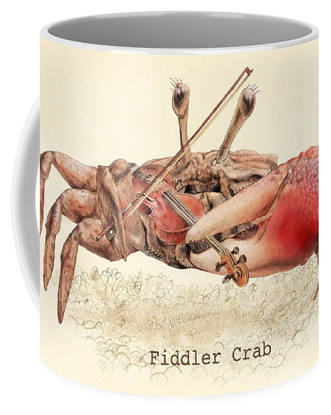 Crab Coffee Mug featuring the drawing Fiddler Crab by Eric Fan
