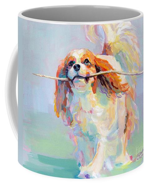 Cavalier King Charles Spaniel Coffee Mug featuring the painting Fiddlesticks by Kimberly Santini