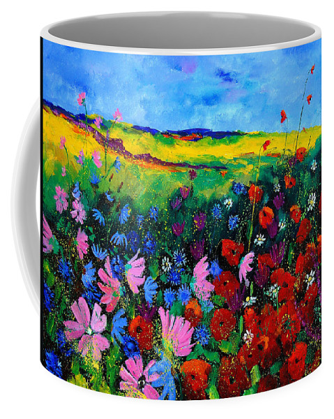 Poppies Coffee Mug featuring the painting Field flowers by Pol Ledent