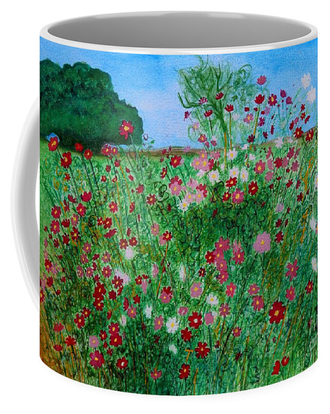 Cosmos Coffee Mug featuring the painting Field Of Cosmos by Caroline Street