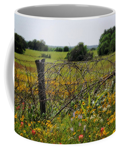 Fence Coffee Mug featuring the photograph Field Of Flowers 3 by Leticia Latocki