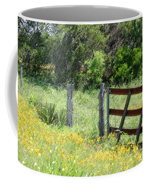 Fence Coffee Mug featuring the photograph Field Of Flowers 4 by Leticia Latocki