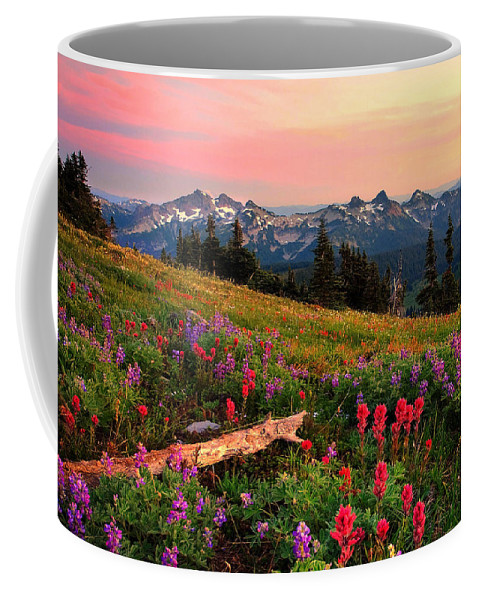 Mountain Coffee Mug featuring the photograph Field Of Flowers by Ingrid Smith-Johnsen