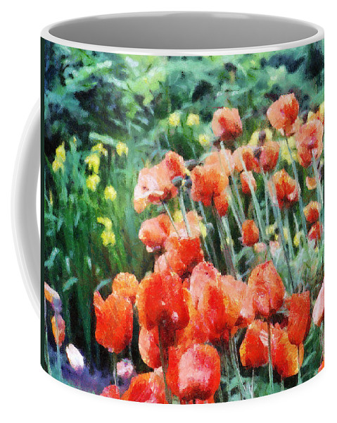 Canadian Coffee Mug featuring the painting Field Of Flowers by Jeffrey Kolker