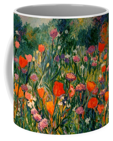 Flowers Coffee Mug featuring the painting Field Of Flowers by Kendall Kessler