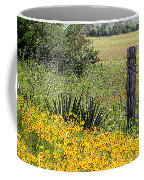 Fence Coffee Mug featuring the photograph Field Of Flowers by Leticia Latocki