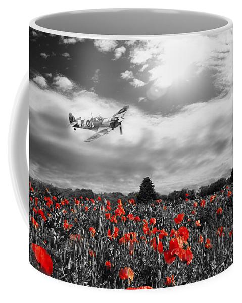 Supermarine Spitfire Mkvb Coffee Mug featuring the digital art Field Of Red by J Biggadike