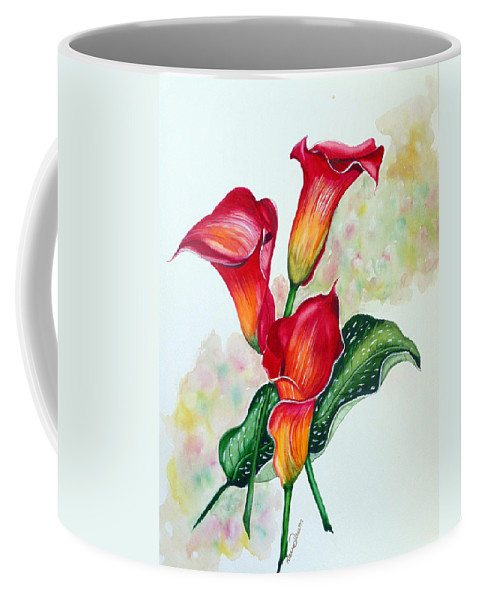 Floral Lily Paintings Flower Paintings Red Paintings Orange Paintings Calla Lily Paintings Tropical Paintings Caribbean Paintings  Greeting Card Paintings Canvas Paintings Poster Paintings Coffee Mug featuring the painting Fiery Callas by Karin Dawn Kelshall- Best