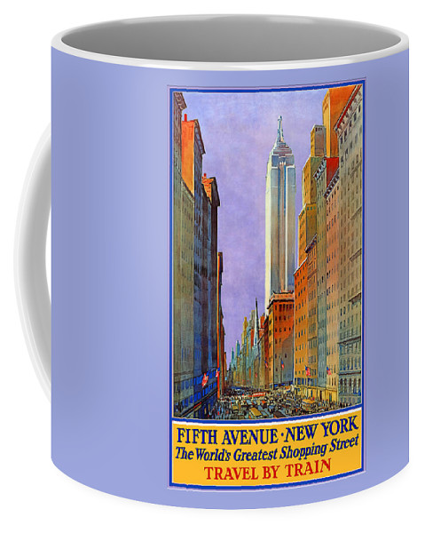 Fifth Avenue Coffee Mug featuring the digital art Fifth Avenue New York Travel Poster by Denise Beverly