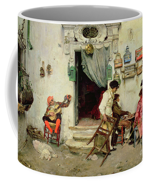 Figaro's Shop Coffee Mug featuring the painting Figaro's Shop by Jose Jimenes Aranda