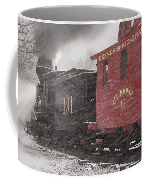 Steam Train Coffee Mug featuring the photograph Fighting Through The Winter Storm by Ken Smith