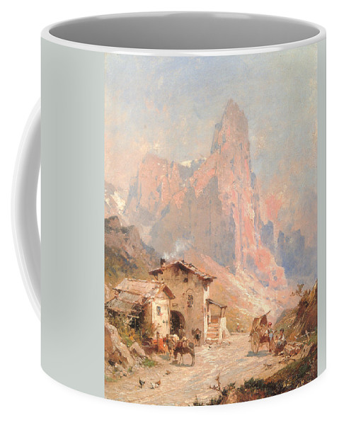 Franz Richard Unterberger Coffee Mug featuring the digital art Figures In A Village In The Dolomites by Franz Richard Unterberger