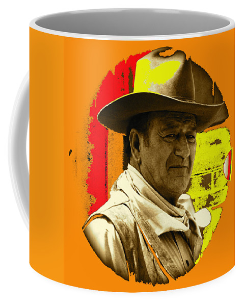 Film Homage John Wayne Andy Warhol Inspired Rio Lobo Variation 1 Old Tucson Arizona 1970-2009 Coffee Mug featuring the photograph Film Homage John Wayne Andy Warhol Inspired Rio Lobo Variation 1 Old Tucson Arizona 1970-2009 by David Lee Guss