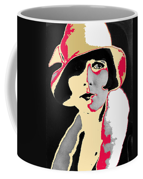Film Homage Louise Brooks Flapper Hat 1927-2013 Color Added Coffee Mug featuring the photograph Film Homage Louise Brooks In Flapper Hat 1927-2013 by David Lee Guss