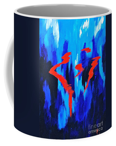 Abstracts By Herschel Fall Red And Blue 3d Coffee Mug featuring the painting Fire And Ice by Herschel Fall