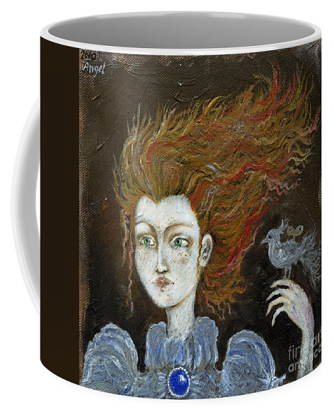 Portrait Coffee Mug featuring the painting Fire Haired Girl by Angel Ciesniarska