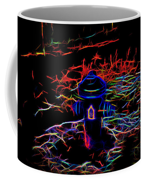 Fire Hydrant Coffee Mug featuring the digital art Fire Hydrant Bathed In Neon by Cathy Anderson