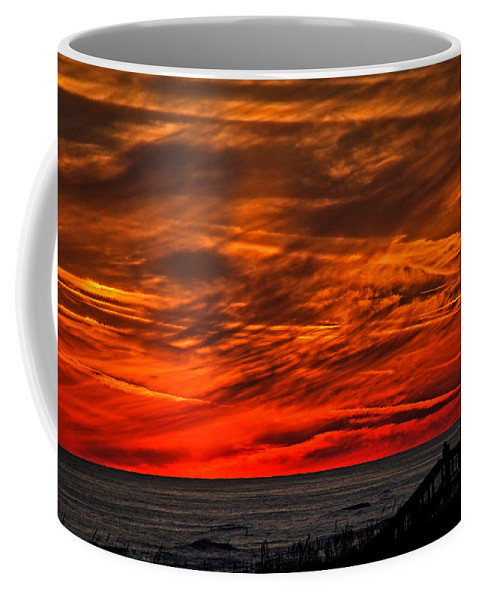 Beach Coffee Mug featuring the photograph Fire In The Sky by David Campbell