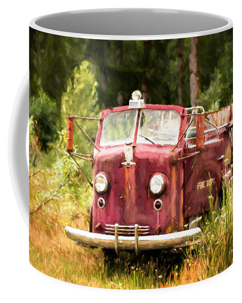 Old Fire Truck Coffee Mug featuring the photograph Fire Truck Digital Painted by Mary Jo Allen