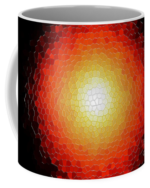 Abstract Coffee Mug featuring the photograph Fireball Sunburst A Tiffany Look Stain Glass by Andee Design