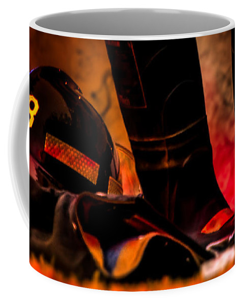Courage Coffee Mug featuring the photograph Firefighter by Bob Orsillo