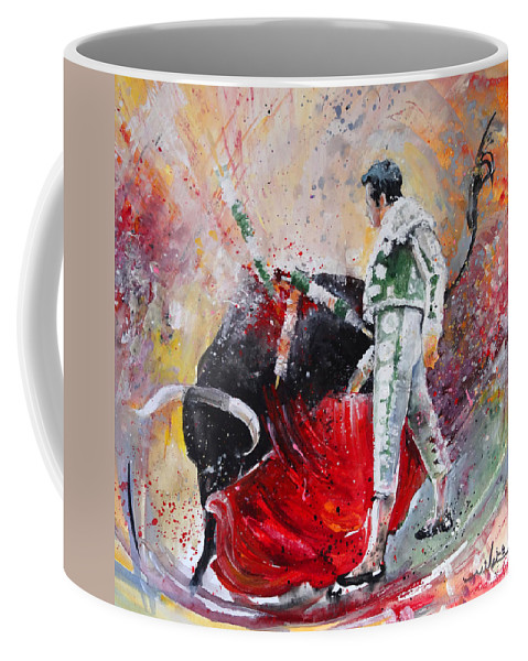 Animals Coffee Mug featuring the painting Fireworks In The Bullring by Miki De Goodaboom