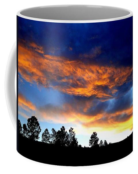 Sunset Coffee Mug featuring the photograph Firey Sunset Of Angel Fire by Cynthia Croal
