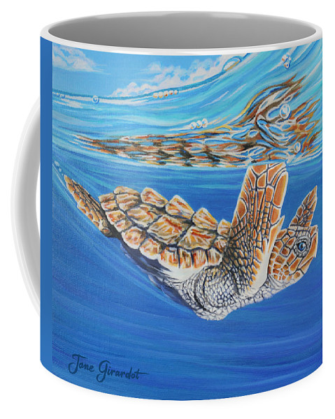 Ocean Coffee Mug featuring the painting First Dive by Jane Girardot