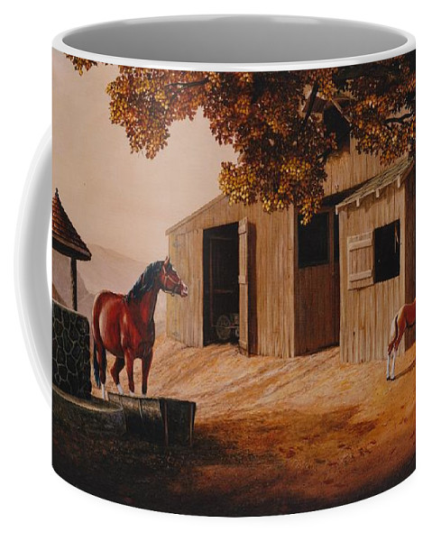 Farm Coffee Mug featuring the painting First Meeting by Duane R Probus