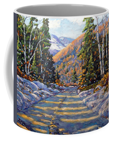Quebec Coffee Mug featuring the painting First Snow By Prankearts by Richard T Pranke