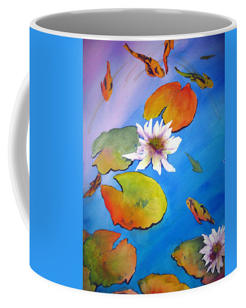 Lil Taylor Coffee Mug featuring the painting Fish Pond I by Lil Taylor